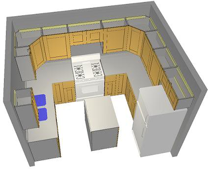3D Drawing of Kitchen Layout
